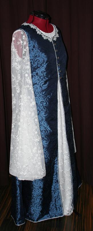 Brautkleid Mittelalter blau weiss