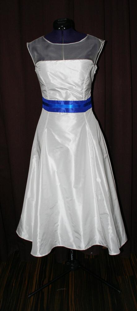 Brautkleid kurz blau weiss