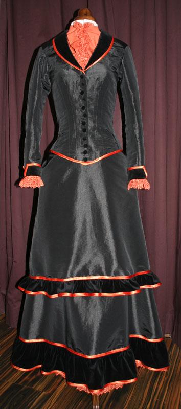 Viktorianisches Kleid schwarz orange
